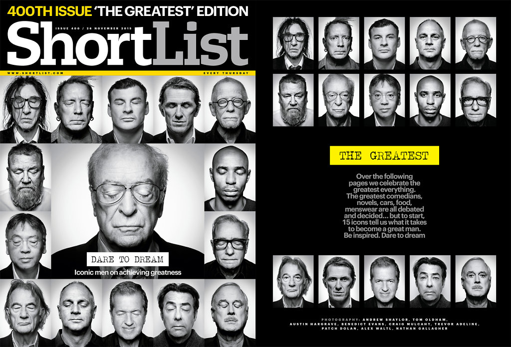 Cover & opening page for Shortlists 'The Greatest'.